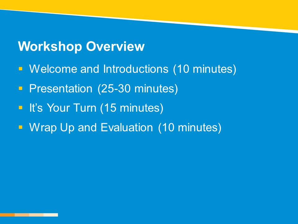 Workshop Overview Welcome and Introductions (10 minutes) Presentation (25-30 minutes) Its Your Turn (15 minutes) Wrap Up and Evaluation (10 minutes)