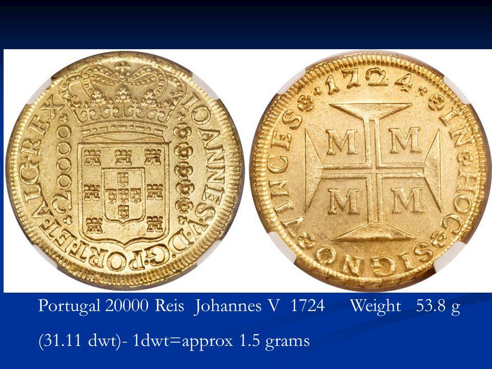 Portugal 20000 Reis Johannes V 1724 Weight 53.8 g (31.11 dwt)- 1dwt=approx 1.5 grams