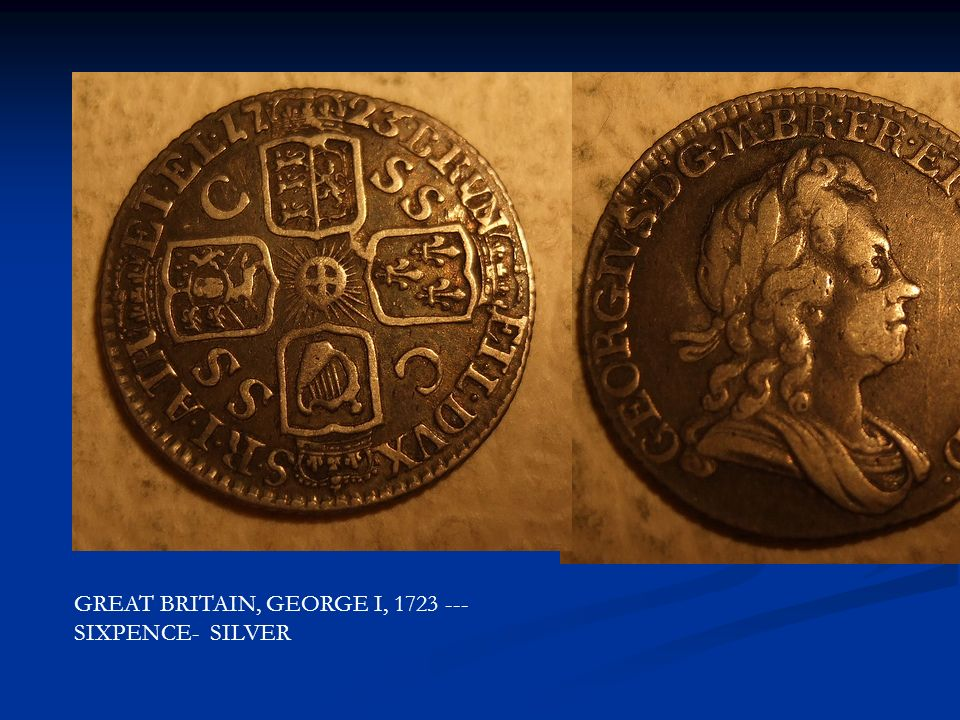 GREAT BRITAIN, GEORGE I, 1723 --- SIXPENCE- SILVER