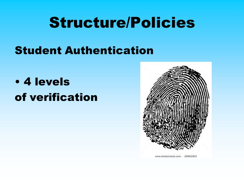 Structure/Policies Student Authentication 4 levels of verification