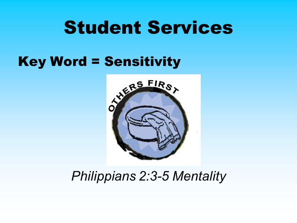 Student Services Key Word = Sensitivity Philippians 2:3-5 Mentality