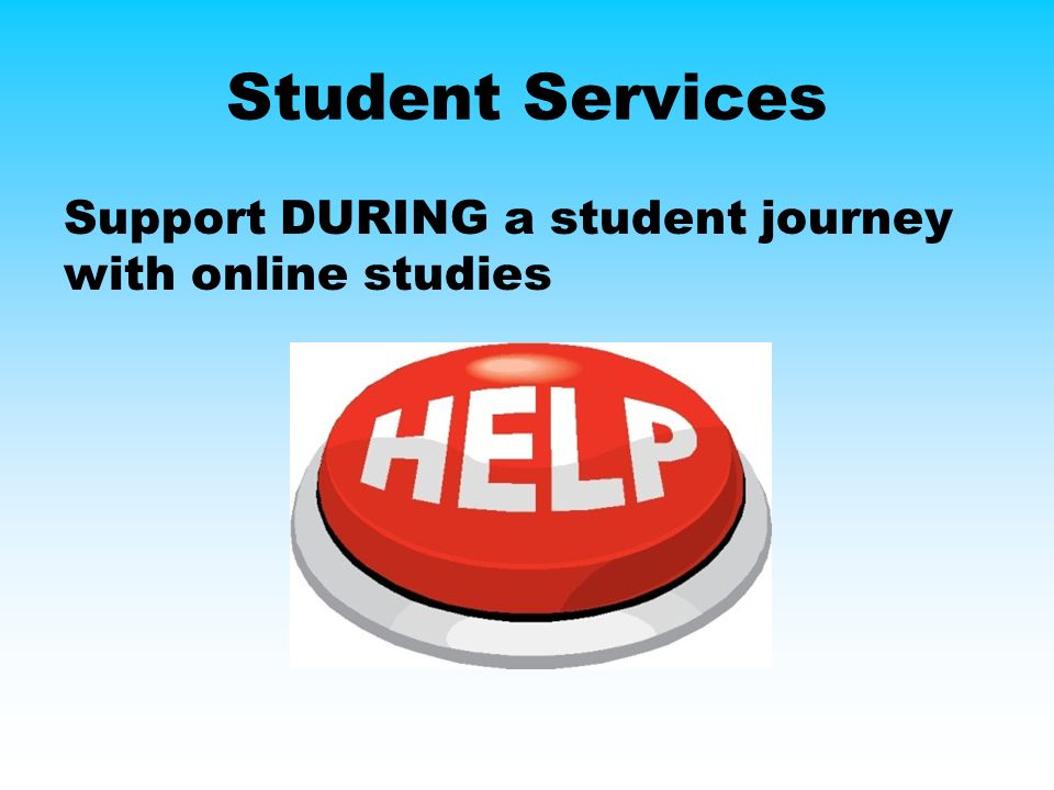 Student Services Support DURING a student journey with online studies