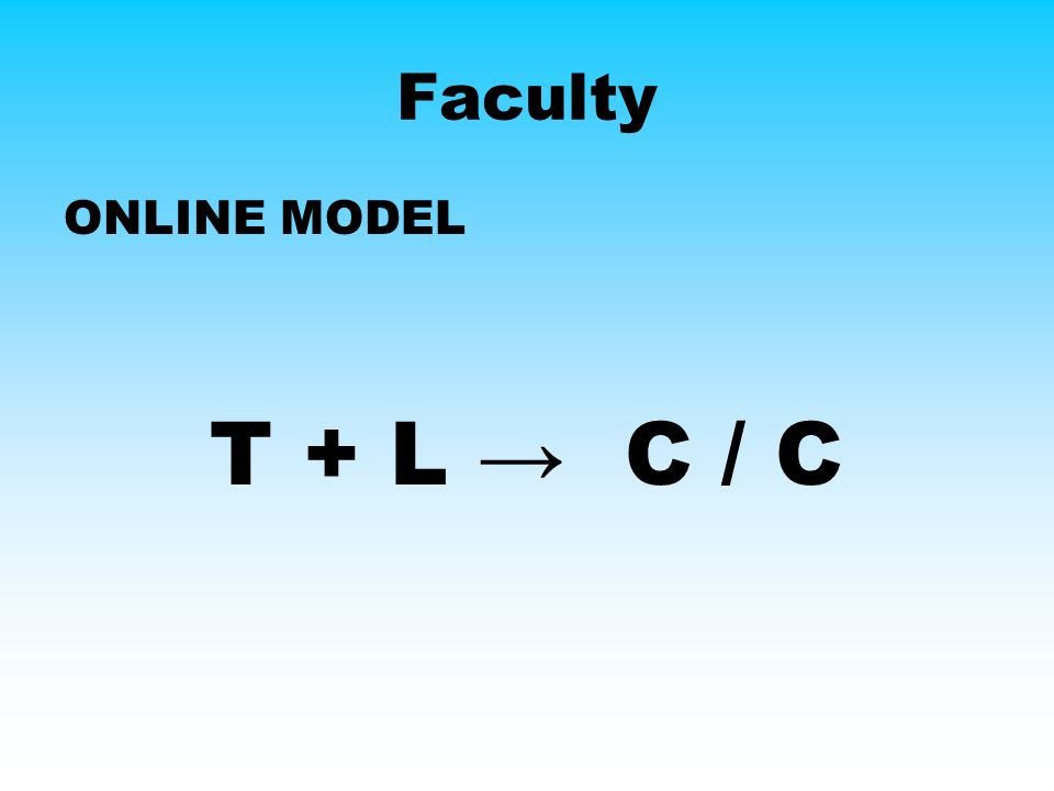 Faculty ONLINE MODEL T + L C / C