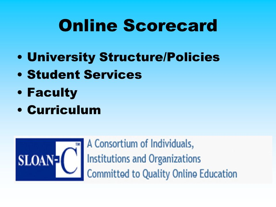 Online Scorecard University Structure/Policies Student Services Faculty Curriculum