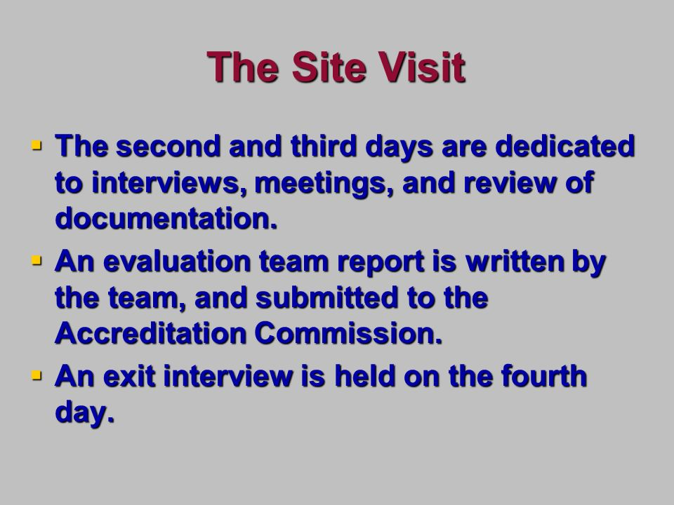 The Site Visit The second and third days are dedicated to interviews, meetings, and review of documentation.