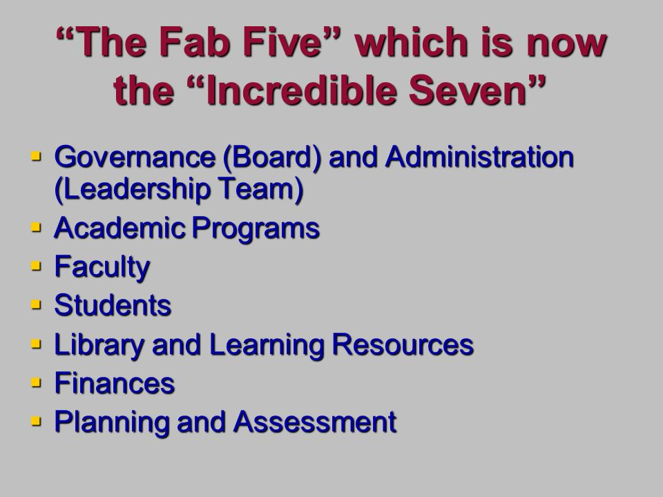 The Fab Five which is now the Incredible Seven Governance (Board) and Administration (Leadership Team) Governance (Board) and Administration (Leadership Team) Academic Programs Academic Programs Faculty Faculty Students Students Library and Learning Resources Library and Learning Resources Finances Finances Planning and Assessment Planning and Assessment