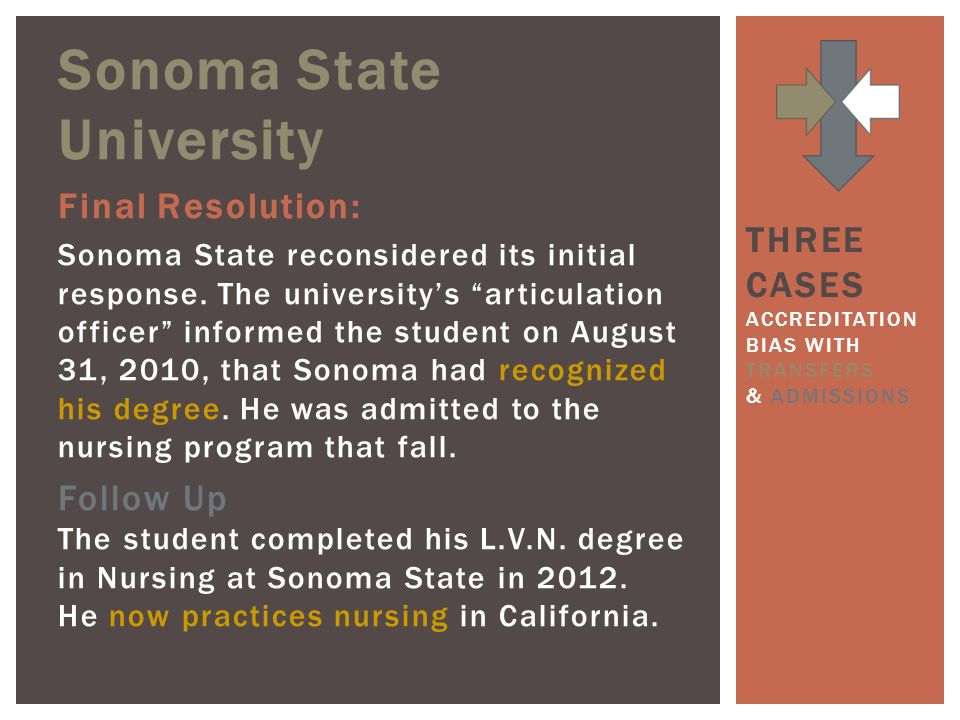Sonoma State University Final Resolution: Sonoma State reconsidered its initial response.