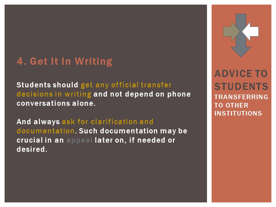 4. Get It In Writing Students should get any official transfer decisions in writing and not depend on phone conversations alone. And always ask for cl