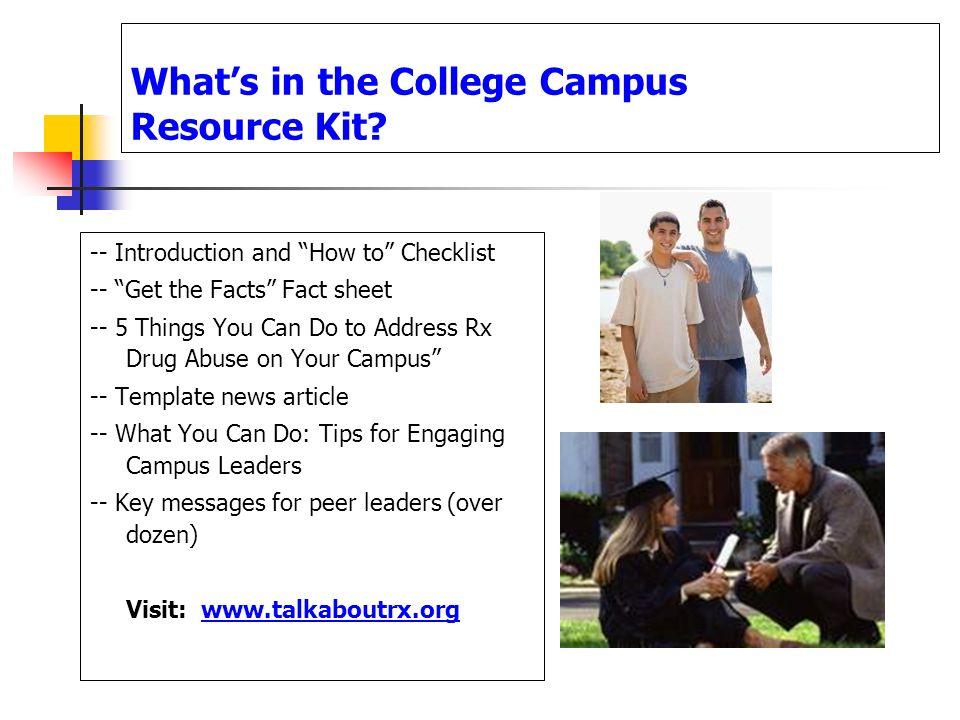 Whats in the College Campus Resource Kit? -- Introduction and How to Checklist -- Get the Facts Fact sheet -- 5 Things You Can Do to Address Rx Drug A