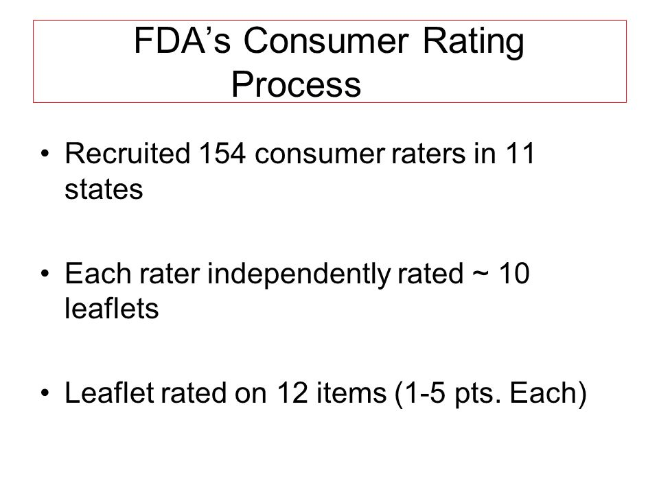 Consumer Rating Process (on a scale of 1 to 5) 1.Poor print size good print size 2.Poor print quality good print quality 3.Poor spacing between lines good spacing between lines 4.Poorly organized Well organized 5.Poor length Good length 6.Unattractive Attractive **
