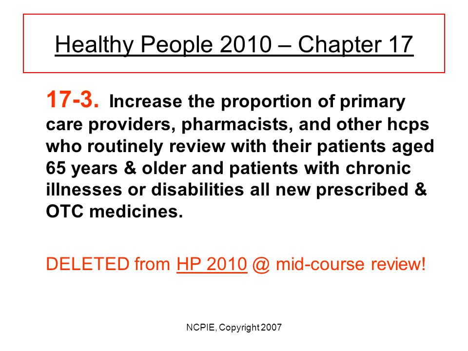 NCPIE, Copyright 2007 Healthy People 2010 – Chapter 17 Federal goals for ensuring better (more useful) medicine communication: FDA is lead agency for