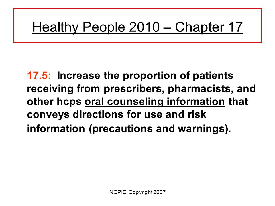 NCPIE, Copyright 2007 Healthy People 2010 - Chapter17 17.4: Increase the proportion of patients receiving, at the time their new prescriptions are dispensed, written information that conforms to the Action Plan for the Provision of Prescription Medicine Information.