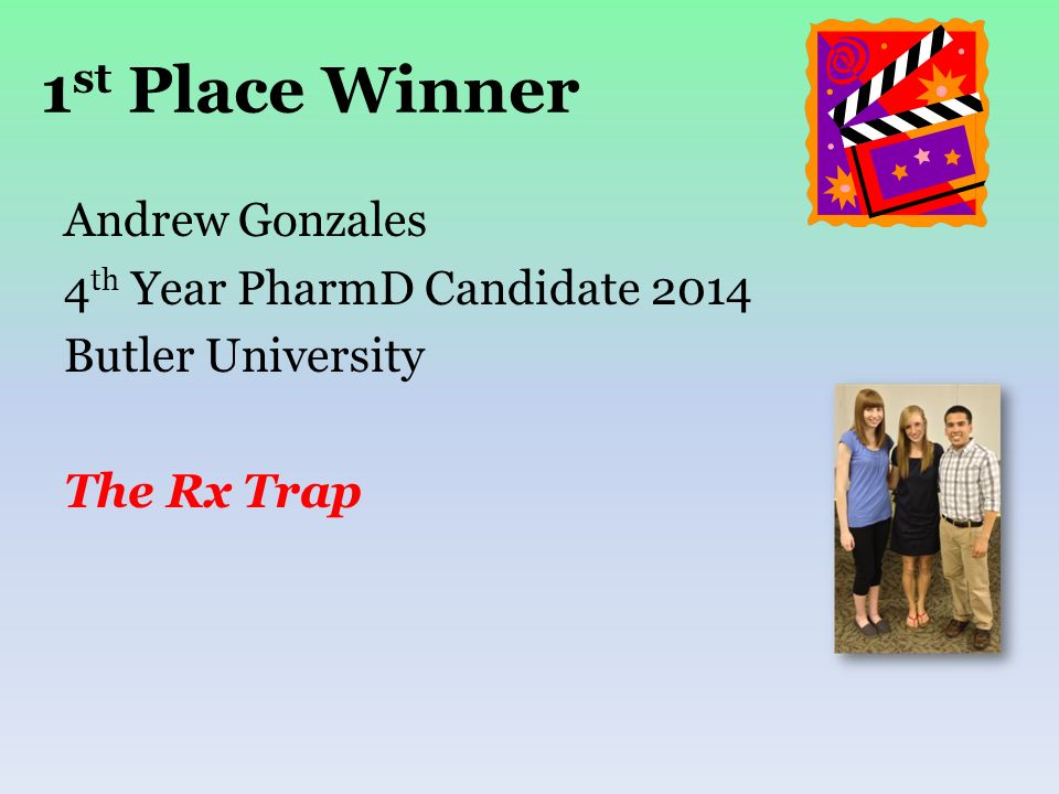 1 st Place Winner Andrew Gonzales 4 th Year PharmD Candidate 2014 Butler University The Rx Trap