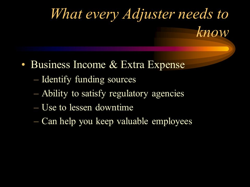 What every Adjuster needs to know Business Income & Extra Expense –Identify funding sources –Ability to satisfy regulatory agencies –Use to lessen dow