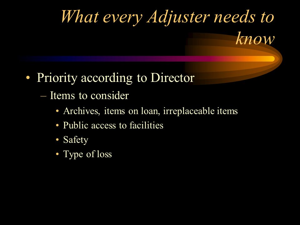 What every Adjuster needs to know Priority according to Director –Items to consider Archives, items on loan, irreplaceable items Public access to faci