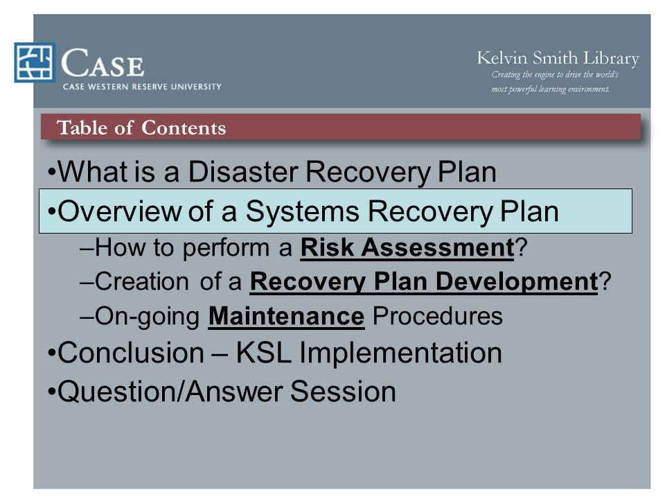 Systems Recovery Plan Model Risk Assessment - Identify a)Identify the organizations assets 1)Personnel Data 2)Digital Collections 3)Content Management System 4)Website – Internal/External Recovery Plan Development - Strategy a)Response to potential threats b)State goals of Disaster Recovery Plan c)Options for recovering mission critical functions/services On-Going Maintenance Procedures – Implement a)Ensure plan updating procedures are in place b)Testing strategies developed and scheduled c)Training materials personnel