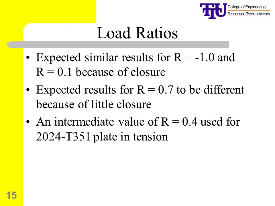 15 Load Ratios Expected similar results for R = -1.0 and R = 0.1 because of closure Expected results for R = 0.7 to be different because of little closure An intermediate value of R = 0.4 used for 2024-T351 plate in tension