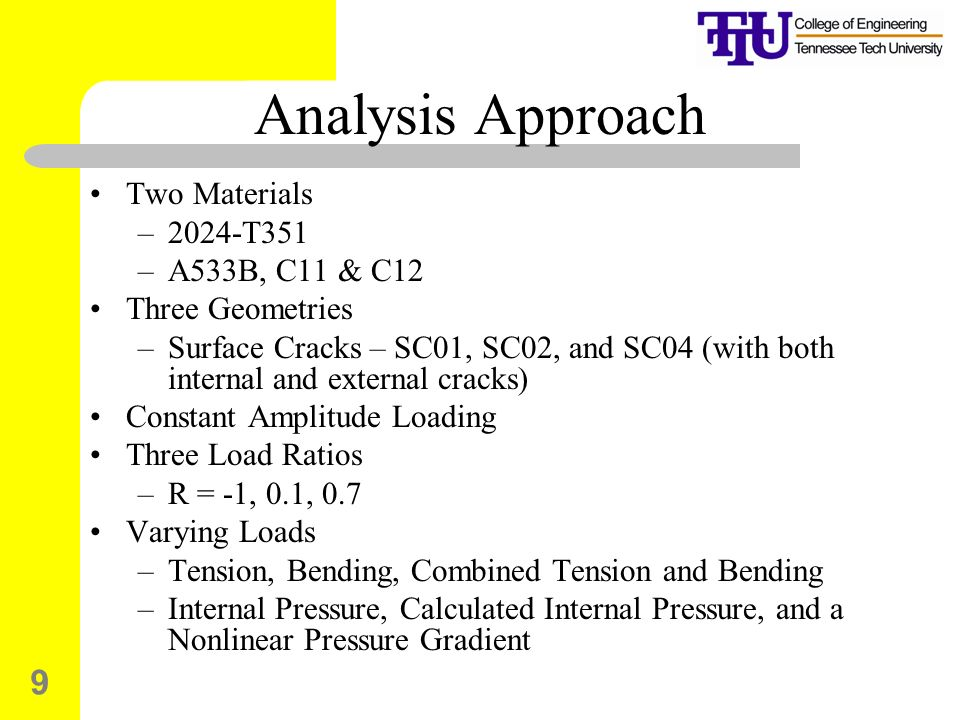9 Analysis Approach Two Materials –2024-T351 –A533B, C11 & C12 Three Geometries –Surface Cracks – SC01, SC02, and SC04 (with both internal and external cracks) Constant Amplitude Loading Three Load Ratios –R = -1, 0.1, 0.7 Varying Loads –Tension, Bending, Combined Tension and Bending –Internal Pressure, Calculated Internal Pressure, and a Nonlinear Pressure Gradient
