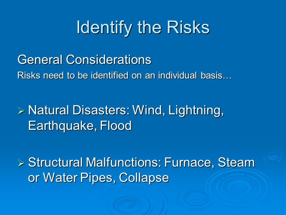 Identify the Risks General Considerations Risks need to be identified on an individual basis… Natural Disasters: Wind, Lightning, Earthquake, Flood Na