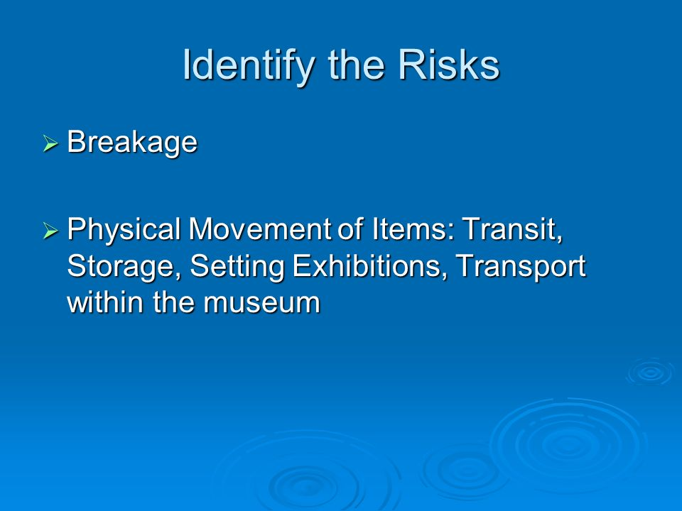 Identify the Risks Breakage Breakage Physical Movement of Items: Transit, Storage, Setting Exhibitions, Transport within the museum Physical Movement