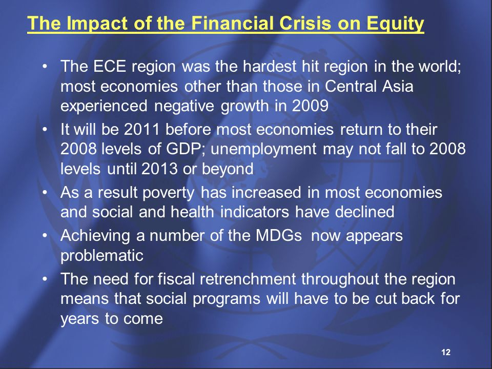 12 The Impact of the Financial Crisis on Equity The ECE region was the hardest hit region in the world; most economies other than those in Central Asi