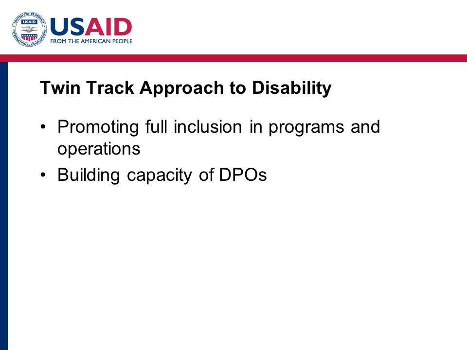 Twin Track Approach to Disability Promoting full inclusion in programs and operations Building capacity of DPOs