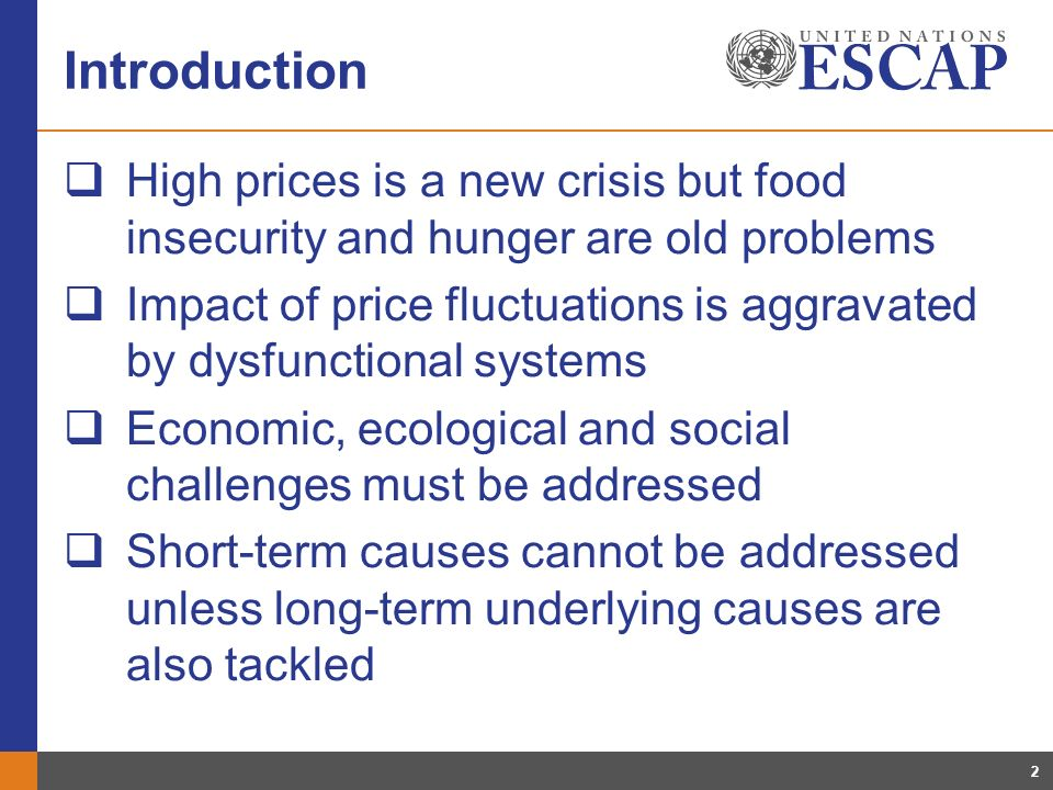 2 Introduction High prices is a new crisis but food insecurity and hunger are old problems Impact of price fluctuations is aggravated by dysfunctional systems Economic, ecological and social challenges must be addressed Short-term causes cannot be addressed unless long-term underlying causes are also tackled