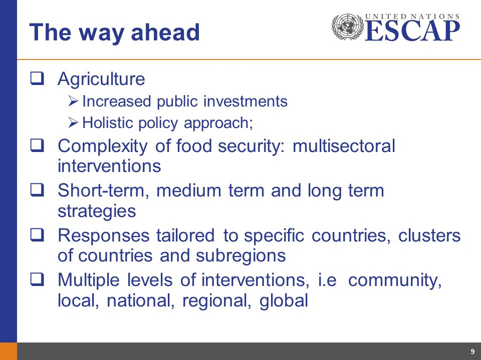 9 The way ahead Agriculture Increased public investments Holistic policy approach; Complexity of food security: multisectoral interventions Short-term, medium term and long term strategies Responses tailored to specific countries, clusters of countries and subregions Multiple levels of interventions, i.e community, local, national, regional, global