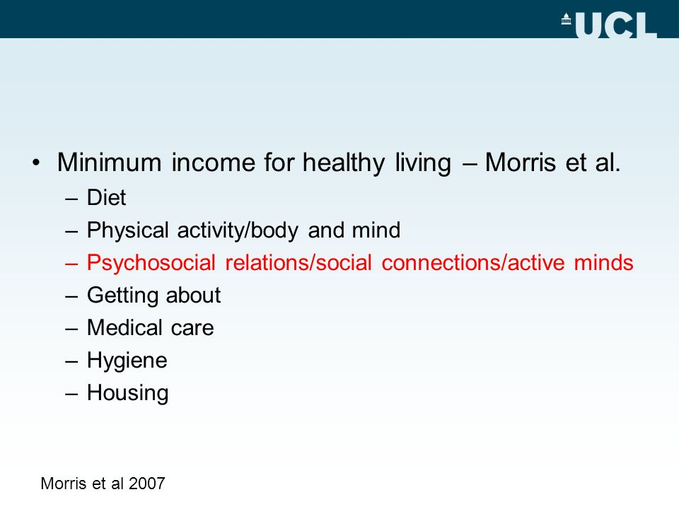 Minimum income for healthy living – Morris et al.