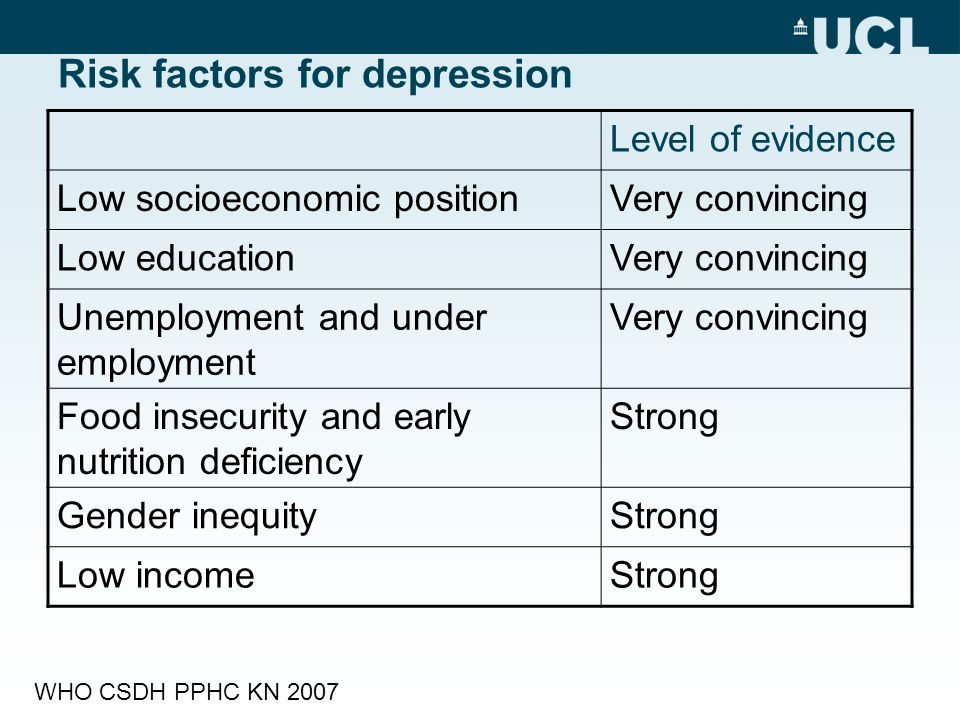 Risk factors for depression Level of evidence Low socioeconomic positionVery convincing Low educationVery convincing Unemployment and under employment Very convincing Food insecurity and early nutrition deficiency Strong Gender inequityStrong Low incomeStrong WHO CSDH PPHC KN 2007