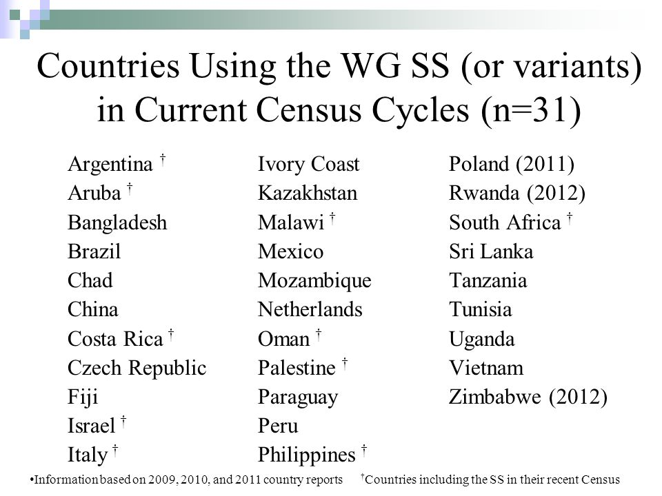 Countries Using the WG SS (or variants) in Current Census Cycles (n=31) Argentina Aruba Bangladesh Brazil Chad China Costa Rica Czech Republic Fiji Israel Italy Ivory Coast Kazakhstan Malawi Mexico Mozambique Netherlands Oman Palestine Paraguay Peru Philippines Poland (2011) Rwanda (2012) South Africa Sri Lanka Tanzania Tunisia Uganda Vietnam Zimbabwe (2012) Information based on 2009, 2010, and 2011 country reports Countries including the SS in their recent Census