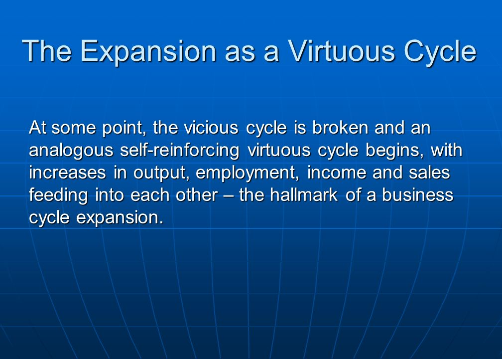 The Expansion as a Virtuous Cycle At some point, the vicious cycle is broken and an analogous self-reinforcing virtuous cycle begins, with increases in output, employment, income and sales feeding into each other – the hallmark of a business cycle expansion.