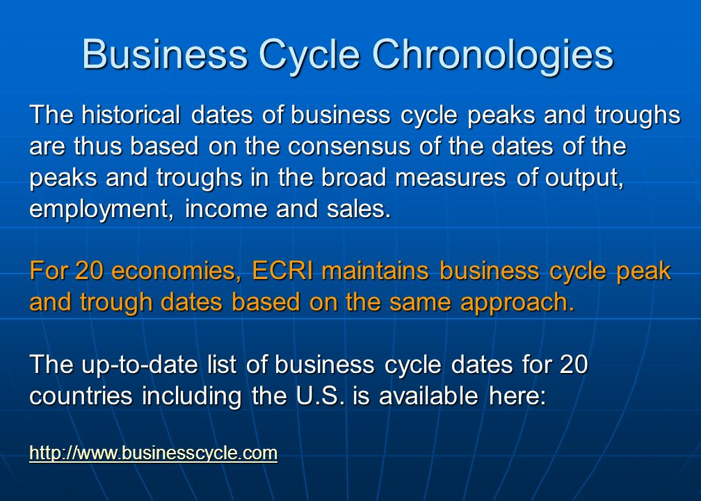 Business Cycle Chronologies The historical dates of business cycle peaks and troughs are thus based on the consensus of the dates of the peaks and troughs in the broad measures of output, employment, income and sales.