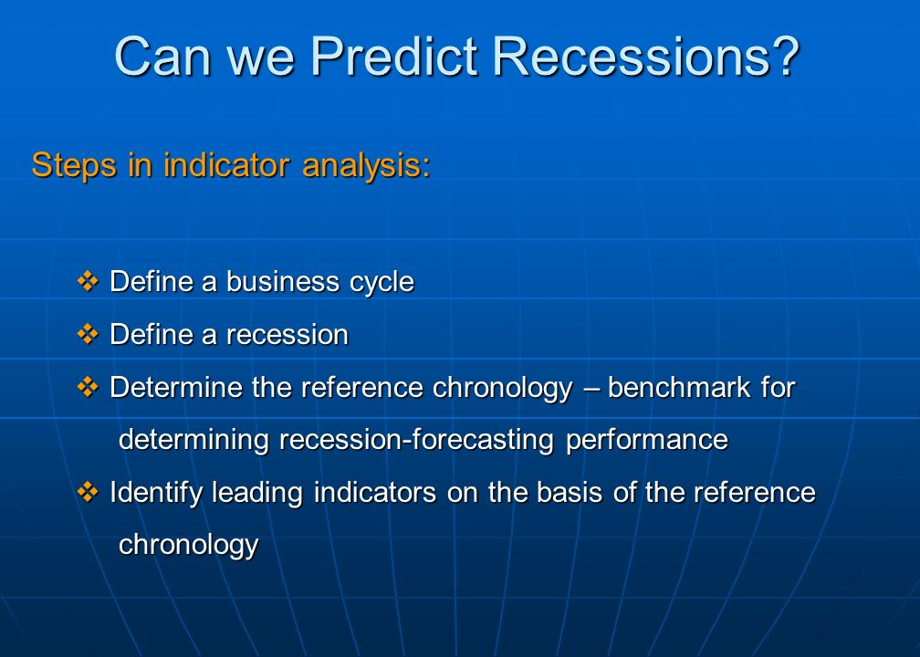 Robustness of Indicator Analysis We recently completed a similar analysis for the US from the mid 20 th century through the early 21 st century, including the Great Recession.