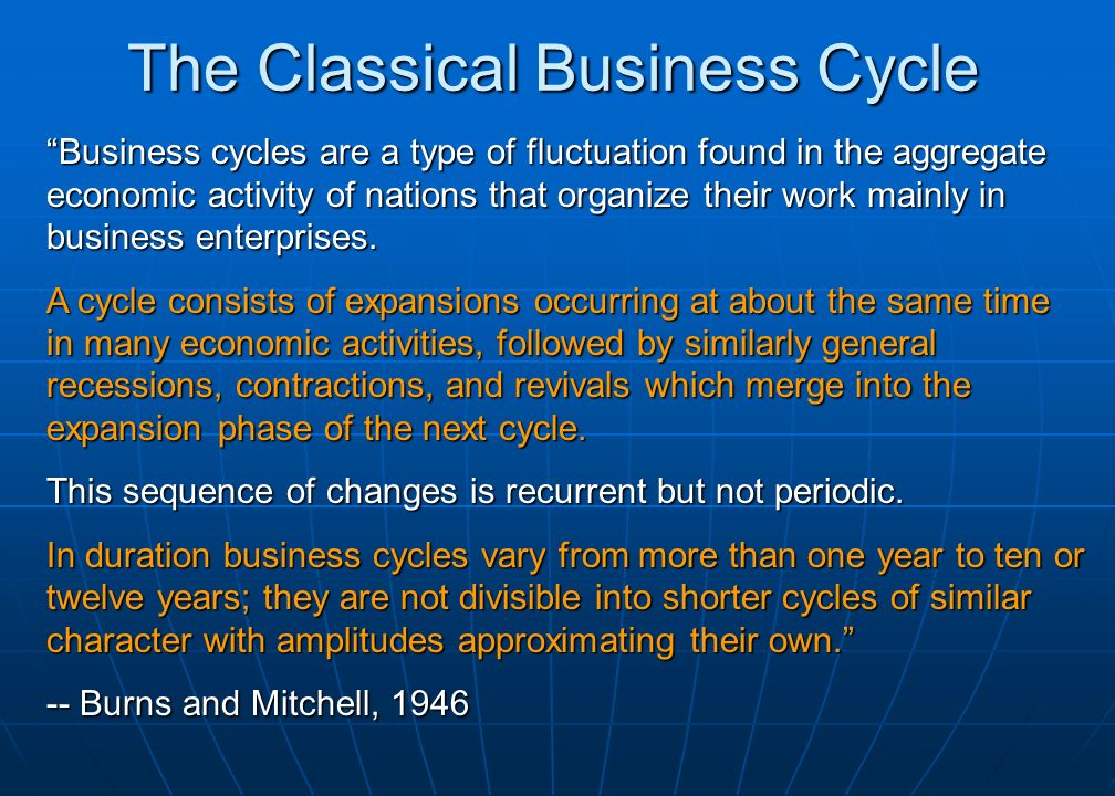 The Classical Business Cycle Business cycles are a type of fluctuation found in the aggregate economic activity of nations that organize their work mainly in business enterprises.