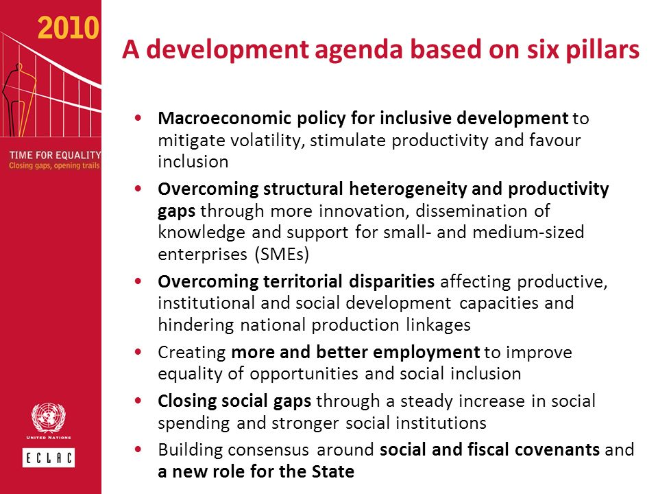 A development agenda based on six pillars Macroeconomic policy for inclusive development to mitigate volatility, stimulate productivity and favour inc