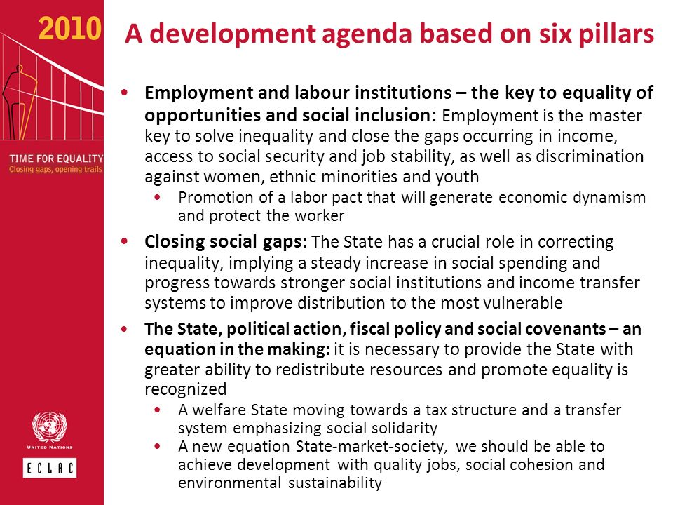 A development agenda based on six pillars Employment and labour institutions – the key to equality of opportunities and social inclusion: Employment i
