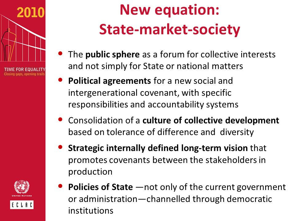 New equation: State-market-society The public sphere as a forum for collective interests and not simply for State or national matters Political agreem