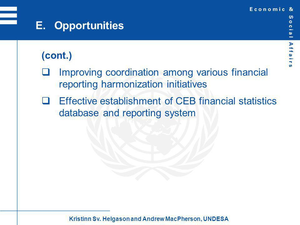 (cont.) Improving coordination among various financial reporting harmonization initiatives Effective establishment of CEB financial statistics database and reporting system E.Opportunities Kristinn Sv.