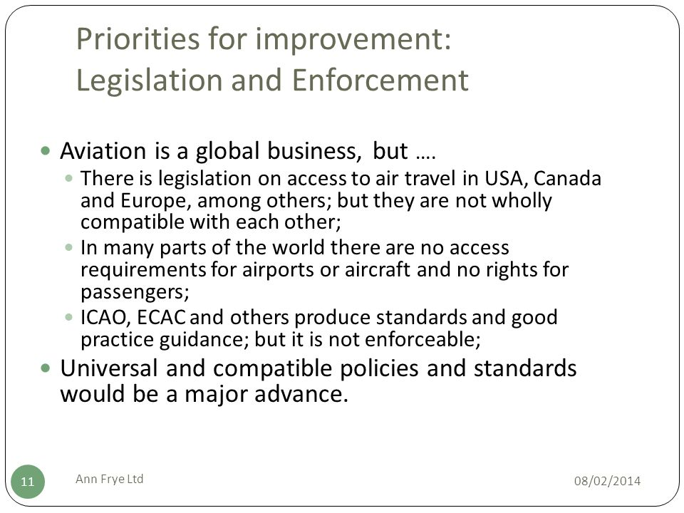 Priorities for improvement: Legislation and Enforcement 08/02/2014 Ann Frye Ltd 11 Aviation is a global business, but ….