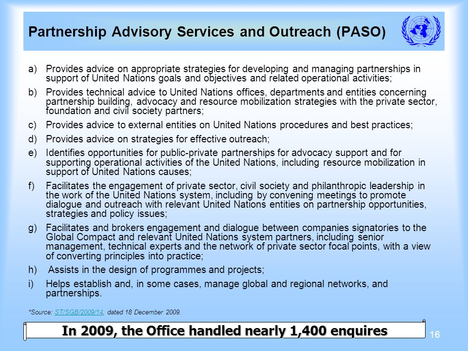 16 a)Provides advice on appropriate strategies for developing and managing partnerships in support of United Nations goals and objectives and related operational activities; b)Provides technical advice to United Nations offices, departments and entities concerning partnership building, advocacy and resource mobilization strategies with the private sector, foundation and civil society partners; c)Provides advice to external entities on United Nations procedures and best practices; d)Provides advice on strategies for effective outreach; e)Identifies opportunities for public-private partnerships for advocacy support and for supporting operational activities of the United Nations, including resource mobilization in support of United Nations causes; f)Facilitates the engagement of private sector, civil society and philanthropic leadership in the work of the United Nations system, including by convening meetings to promote dialogue and outreach with relevant United Nations entities on partnership opportunities, strategies and policy issues; g)Facilitates and brokers engagement and dialogue between companies signatories to the Global Compact and relevant United Nations system partners, including senior management, technical experts and the network of private sector focal points, with a view of converting principles into practice; h) Assists in the design of programmes and projects; i)Helps establish and, in some cases, manage global and regional networks, and partnerships.