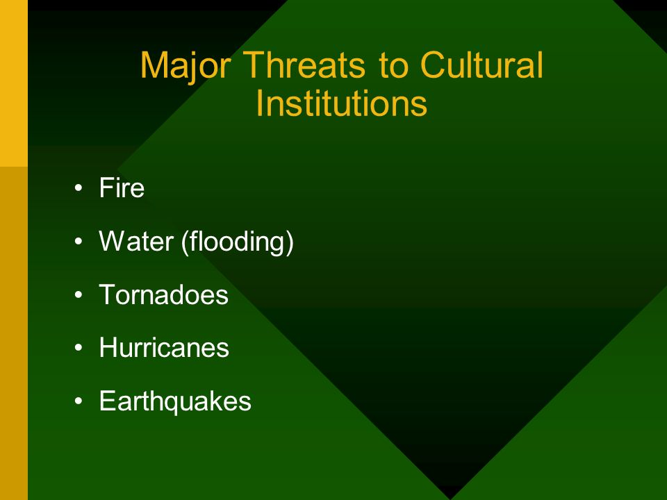 Major Threats to Cultural Institutions Fire Water (flooding) Tornadoes Hurricanes Earthquakes
