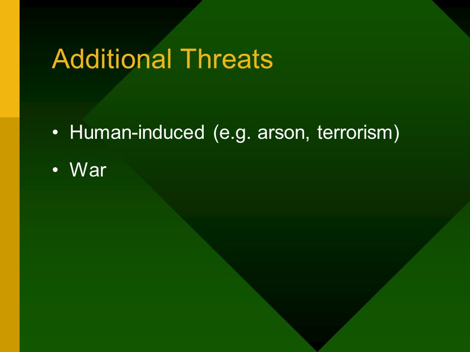 Additional Threats Human-induced (e.g. arson, terrorism) War