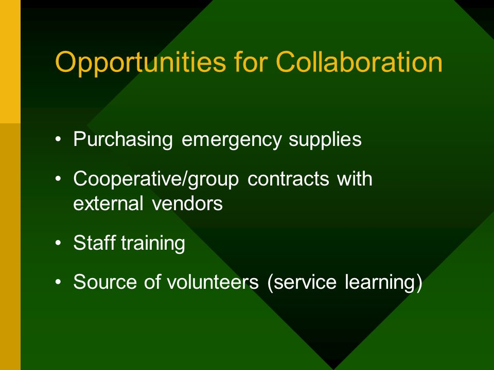 Opportunities for Collaboration Purchasing emergency supplies Cooperative/group contracts with external vendors Staff training Source of volunteers (service learning)