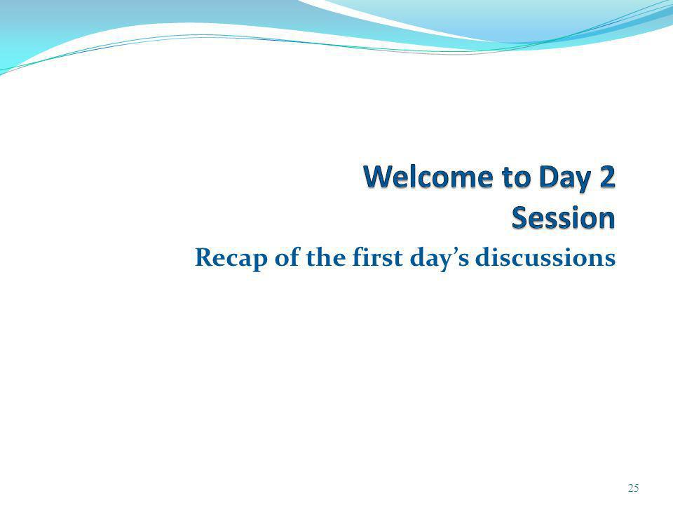 Recap of the first days discussions 25