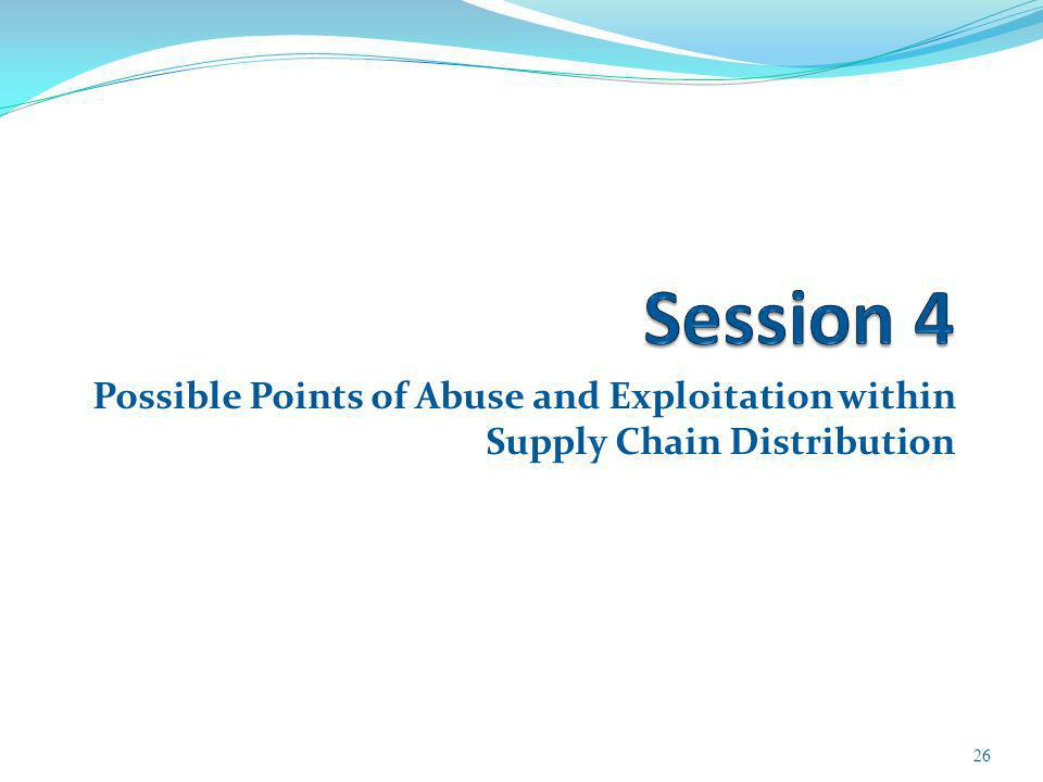 Possible Points of Abuse and Exploitation within Supply Chain Distribution 26