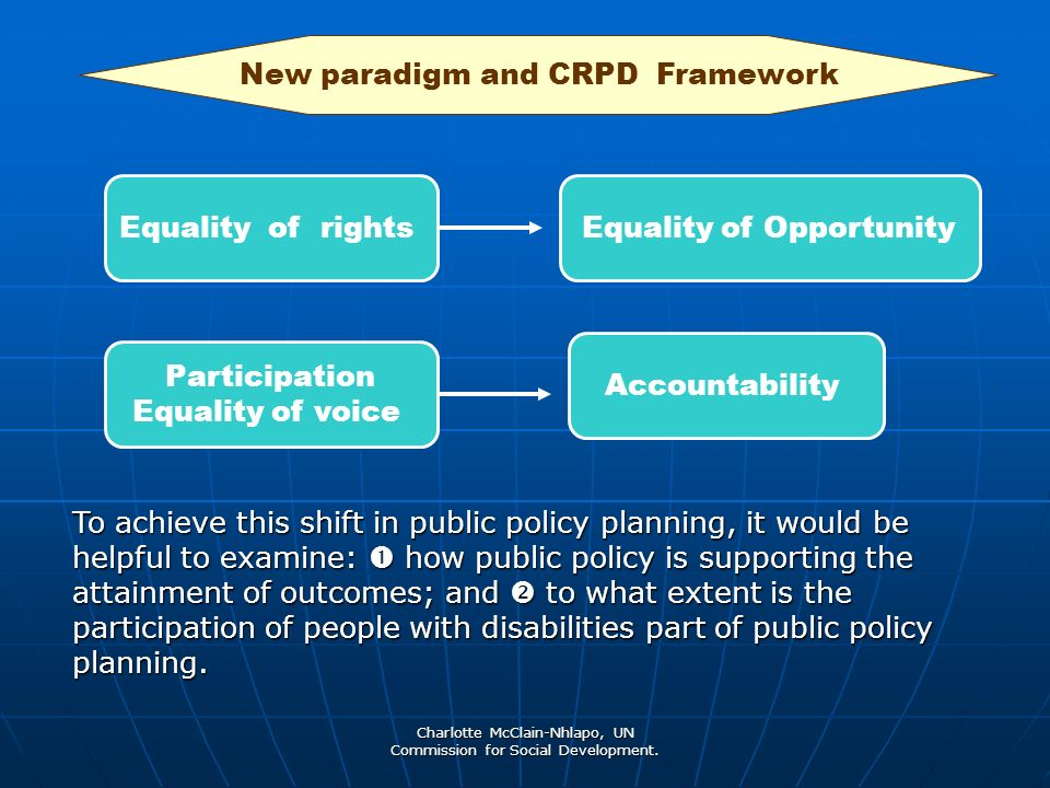 Charlotte McClain-Nhlapo, UN Commission for Social Development. Equality of rightsEquality of Opportunity Participation Equality of voice Accountabili