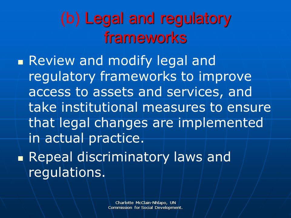 Charlotte McClain-Nhlapo, UN Commission for Social Development. Legal and regulatory frameworks (b) Legal and regulatory frameworks Review and modify