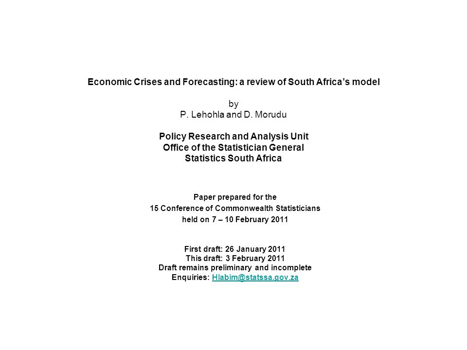 Economic Crises and Forecasting: a review of South Africas model by P.