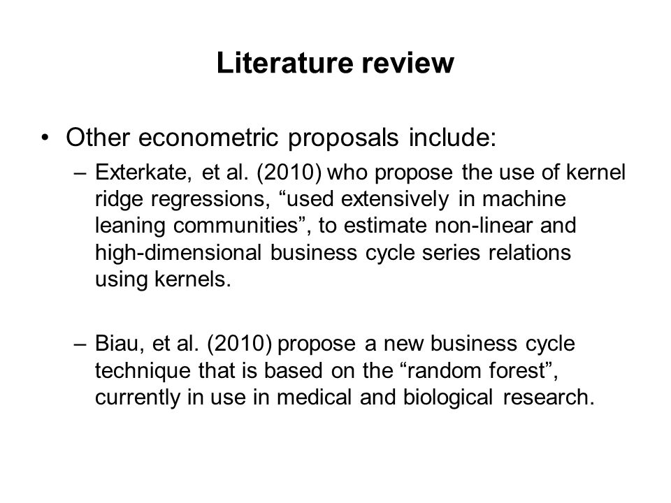 Literature review Other econometric proposals include: –Exterkate, et al.